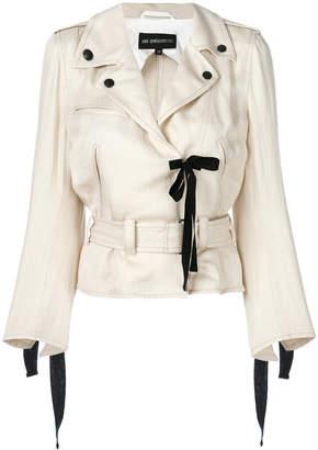 Ann Demeulemeester ribbon detail biker jacket