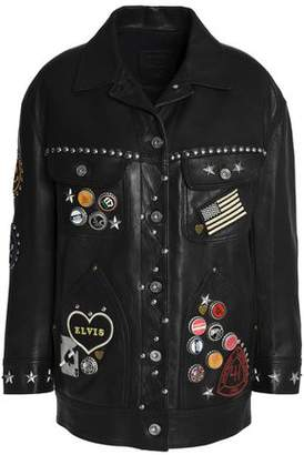 Coach Embellished Leather Jacket