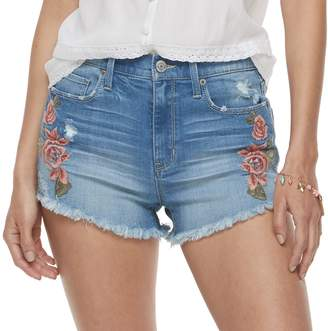 Mudd Juniors' Embroidered High Rise Jean Shorts