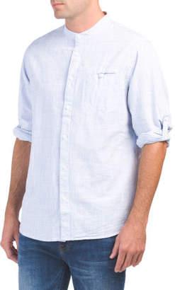 Banded Collar Slim Fit Shirt