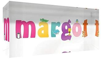 clear Little Helper Souvenir Decorative Polished Acrylic Diamond Style Example with Girl's Name Margot 5 x 15 x 2 cm Small Multi-Coloured