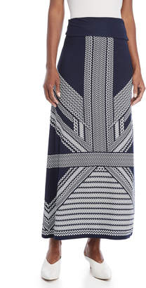 Max Studio Printed Jersey Maxi Skirt