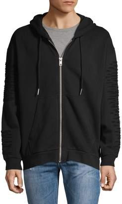Diesel Distressed Cotton Hooded Sweatshirt