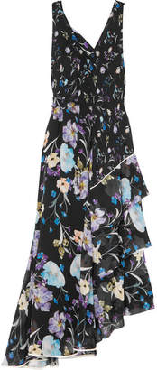 3.1 Phillip Lim Tiered Floral-print Silk-crepon Maxi Dress - Black