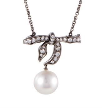 Mikimoto 18K & Rhodium 0.57 Ct. Tw. Diamond & 10-11Mm Pearl Bow Necklace