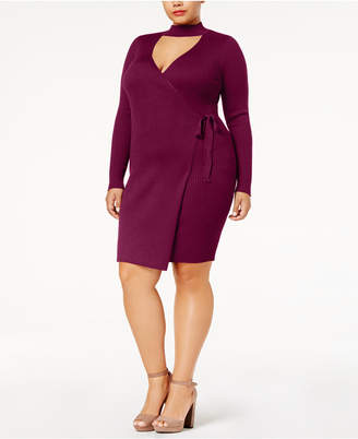 Say What Trendy Plus Size Faux-Wrap Sweater Dress