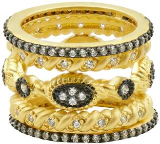 Freida Rothman 14K Yellow Gold & Black Rhodium Plated Sterling Silver Pave CZ Mixed Stacked Ring Set - Size 7