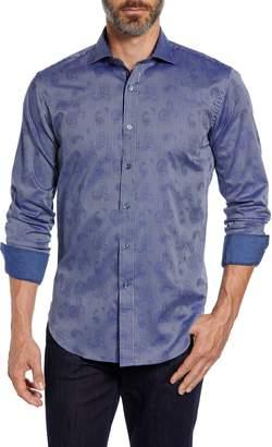 Bugatchi Shaped Fit Paisley Stripe Sport Shirt