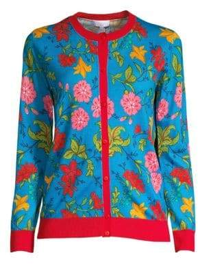 Escada Sport Floral Virgin Wool Knit Cardigan