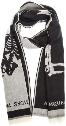 Alexander McQueen Black & Ivory Wool Scarf With Logo