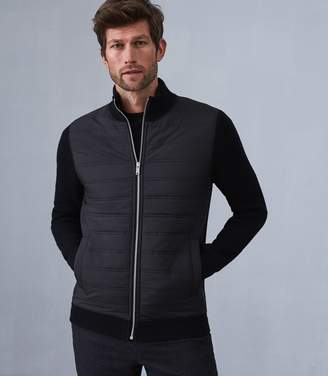 34da6b2e9d5f Reiss TRAINER ZIP THROUGH QUILTED JUMPER Black