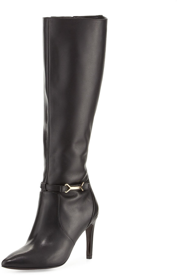 Cole Haan  Cole Haan Loveth Side-Buckle Leather Knee-High Boots, Black