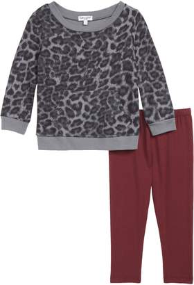 Splendid Leopard Print Sweatshirt & Leggings Set