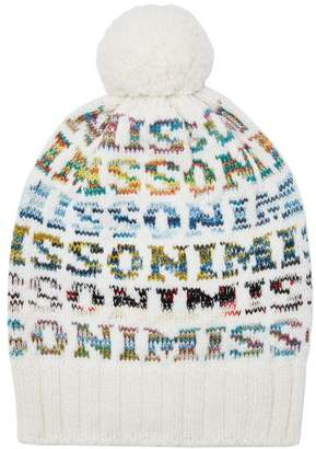 Missoni Logo Knit Wool Beanie Hat - Womens - White