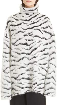Givenchy Zebra Stripe Mohair Blend Turtleneck Sweater