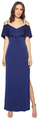 Laundry by Shelli Segal Cold Shoulder Flutter Popover Jersey Gown with Open Back Women's Dress