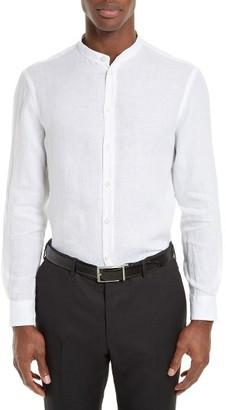 Men's Armani Collezioni Nehru Collar Washed Linen Sport Shirt $295 thestylecure.com