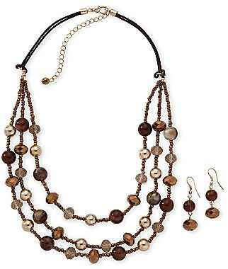 JCPenney Brown 3-Strand Necklace & Drop Earrings Set