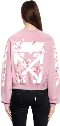 Cherry Blossom Crop Cotton Sweatshirt $561 thestylecure.com
