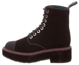 Chanel Velvet Lace-Up Ankle Boots