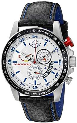 GV2 by Gevril Scuderia Mens Chronograph Swiss Quartz Alarm GMT Black Leather Strap Sports Racing Watch