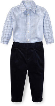 Ralph Lauren Woven Tattersall Button-Down Top w/ Velvet Pants, Size 6-24 Months