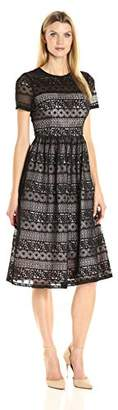 Maggy London Women's Victorian Stripe Lace Fit and Flare $188 thestylecure.com