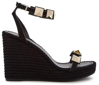 Valentino Torchon Rockstud Leather Wedge Sandals