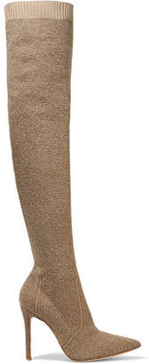 Gianvito Rossi Fiona 100 Bouclé Over-the-knee Sock Boots - Mushroom