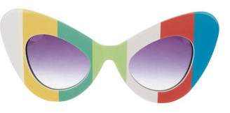 Linda Farrow Striped Cat-Eye Sunglasses