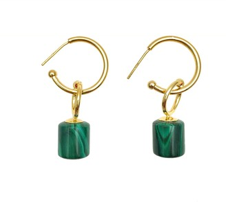 Farra Malachite Simple Earrings