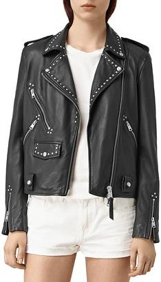ALLSAINTS Vettese Studded Leather Biker Jacket $595 thestylecure.com