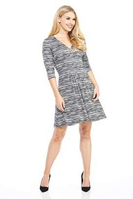 London Times Women's Elbow Sleeve V Neck Pleat Tucked FIT and Flare Dress