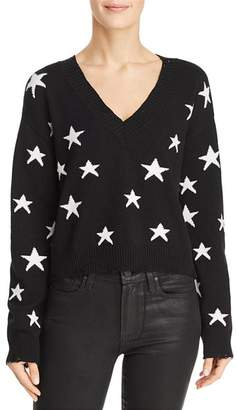 Honey Punch Star Distressed Cropped Sweater