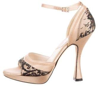 Christian Dior Satin Lace Trim Pumps