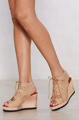 Nasty Gal Lace-Up Your Bets Wedge Sandal