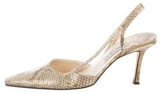 Jimmy Choo Snakeskin Pointed-Toe Sandals