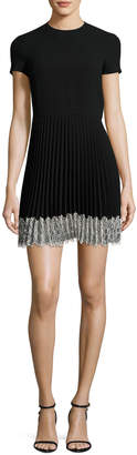 RED Valentino Short-Sleeve Lace-Trim Pleated A-Line Dress, Nero