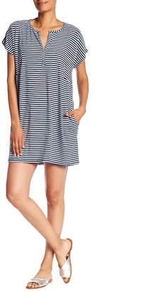 Allen Allen Striped Split Neck Pocket Dress