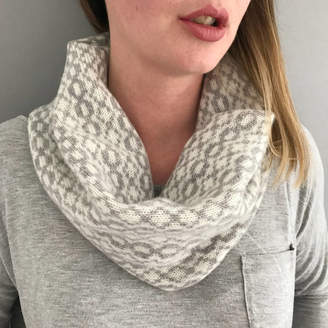 Little Knitted Stars Grey And White Ladies Lambswool Cowl