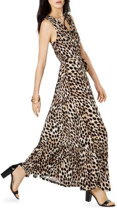 INC International Concepts Petite Cheetah-Print Faux Wrap Maxi Dress