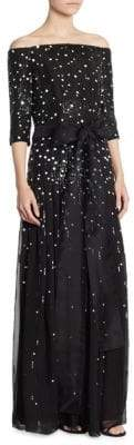 Carolina Herrera Embellished Silk Gown
