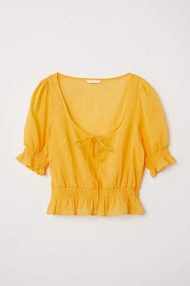 H&M Airy Blouse with Smocking - White - Women