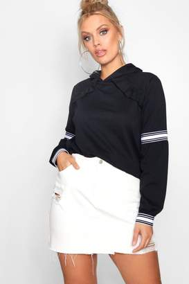 boohoo Plus Claire Sports Stripe Ruffle Sweat Top
