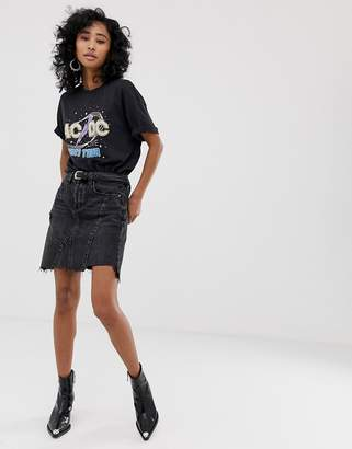 Blank NYC Black Ice chewed hem denim skirt