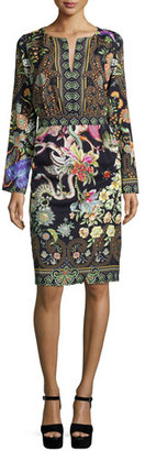 Etro Long-Sleeve Printed Sheath Dress, Black $1,940 thestylecure.com
