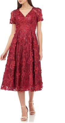 Carmen Marc Valvo 3D Flower Midi Dress