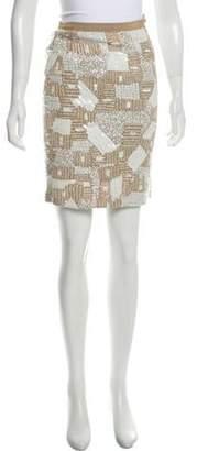 Oscar de la Renta Knee-Length Sequin Skirt Tan Knee-Length Sequin Skirt