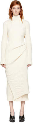 Jil Sander Off-White Ribbed Asymmetric Turtleneck