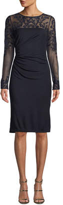 David Meister Tattoo Sheer Long-Sleeve Ruched Dress